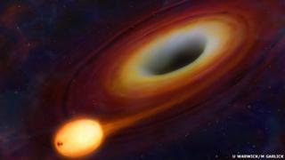 Artist's conception of a black hole (U Warwick/M Garlick)
