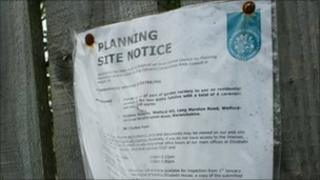 Site planning notice in Welford-on-Avon