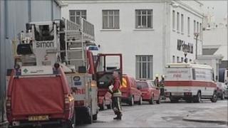 Fire crews at docks