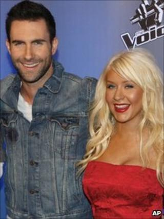 Adam Levine and Christina Aguilera