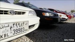 Car with 39 plate at a dealer's in Kabul June 14, 2011.