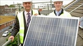 Solar panels on Bryan Hanson House
