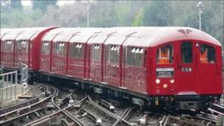 The 1938 Tube train being used for the special journeys