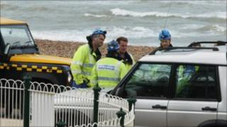 Photo of the search team near Brighton's West Pier