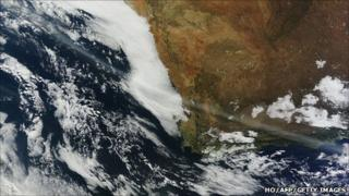 A ribbon of volcanic ash passing over South Africa, captured by the Terra satellite (12 June 2011)
