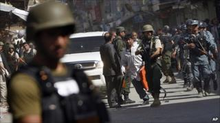 Afghan police at scene of Kabul suicide attack