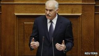 Greek PM George Papandreou addresses parliament in Athens (19 June)
