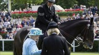 The Queen awards police horse Clyde with a Chief Constable's commendation