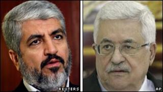 Compilation picture of Khaled Meshaal, left and Mahmoud Abbas
