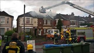 The fire in Atherley Road, Shirley, Southampton