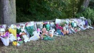 Floral tribute at crash scene
