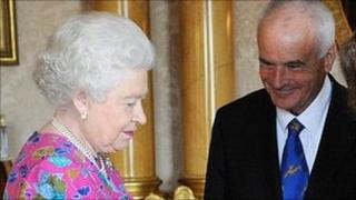 Queen Elizabeth II and Master of The Queen's Music Sir Peter Maxwell