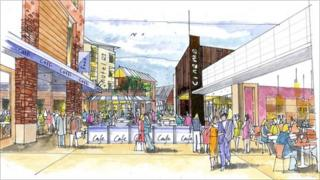 Artist's impression of new Talbot Green town centre