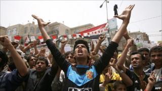 Anti-government protesters in Sanaa, 14 June