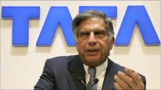 Ratan Tata speaks to the press during the first media day of the 79th Geneva car show
