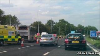 Scene of crash on M62 motorway
