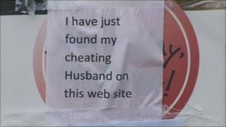 Note on affair dating website poster