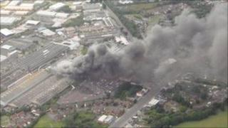 An aerial view of the Swansea factory fire