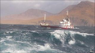 Cargo vessel Red Duchess. Pic: RNLI