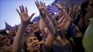 Demonstrators in Athens on 19 June