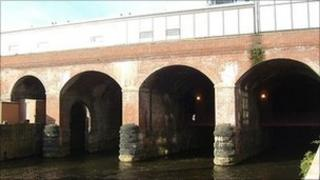 River Aire under Leeds railway station