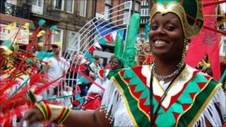 A dancer at Leicester Caribbean Carnival 2010