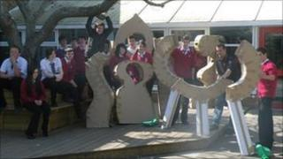 Pupils at Dyson Perrins school, Malvern with a piece of public art they have designed