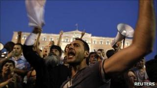 People demonstrating against austerity measures in Athens