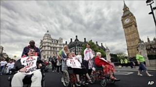 Protest by disability groups outside Parliament in May