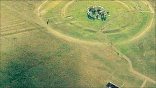 Stonehenge aerial view without A344