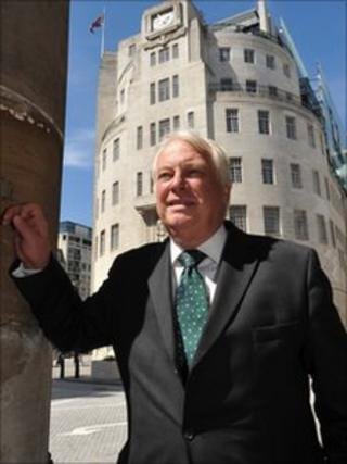 Lord Patten outside BBC Broadcasting House, London, on his first day as the new BBC Trust Chairman, May 3rd 2011