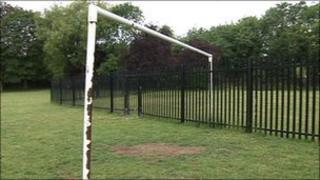 Fence built through goal