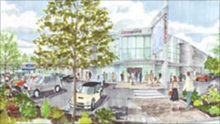 An artists impression of the new supermarket complex