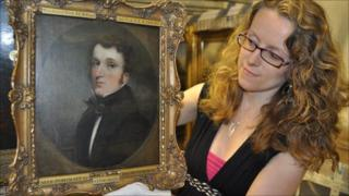 Emma Roodhouse with John Dunthorne Jr's self portrait