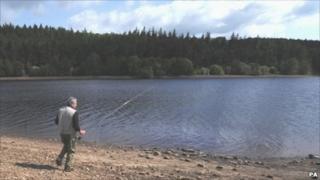 Fisherman at Fewston Reservoir near Harrogate, Yorkshire