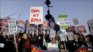 Students protesting about the scrapping of EMA earlier this year