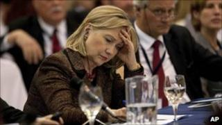 Hillary Clinton at the Central American Security Conference in Guatemala City