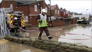 Firefighters help with floods in Doncaster