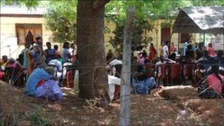 People waiting for news of relatives in Vavuniya police centre - June 2011