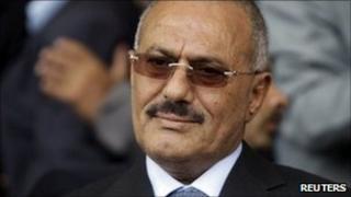 Yemen President Ali Abdullah Saleh at a pro-government rally in Sanaa (20 May 2011)