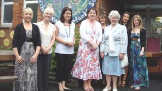 Staff of St Anne's Church in Wales Infant School, Cardiff, with former head teacher Kathleen Davis