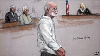 """A courtroom drawing of James """"Whitey"""" Bulger"""
