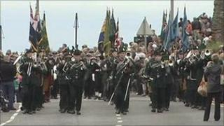 Soldiers marching on road