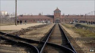 The railway track at the Auschwirz-Birkenau death camp. File photo