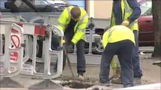 Work to repair gas main