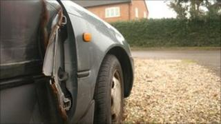 Car dented after accident in Norfolk