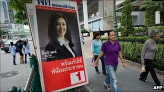 Yinglukc Shinawatra election poster June 2011 Thailand
