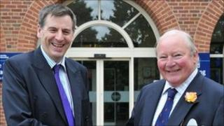 Professor David Green (l) University of Worcester Vice-Chancellor, and Clive Richards