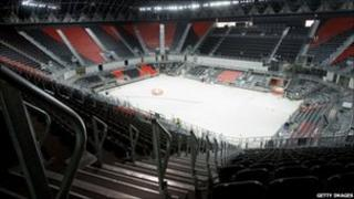Interior of London 2012 basketball arena
