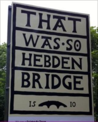Farewell sign in Hebden Bridge